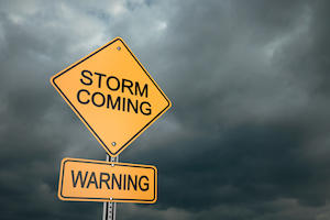 Storm Coming Warning Sign so prepare with a whole house generator