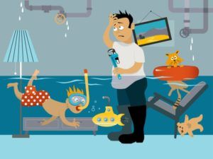 cartoon of man with flooded room